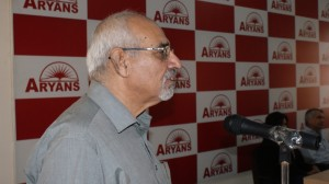 Wing Cdr. D.P. Sabharwal, Retd. Director, Aero Academy, Chandigarh addressing the students of Aryans Business School